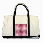 HOUNDSTOOTH1 WHITE MARBLE & PINK DENIM Two Tone Tote Bag Front