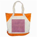 HOUNDSTOOTH1 WHITE MARBLE & PINK DENIM Accent Tote Bag Front