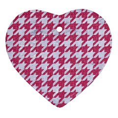 Houndstooth1 White Marble & Pink Denim Heart Ornament (two Sides) by trendistuff