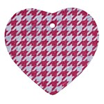HOUNDSTOOTH1 WHITE MARBLE & PINK DENIM Heart Ornament (Two Sides) Back
