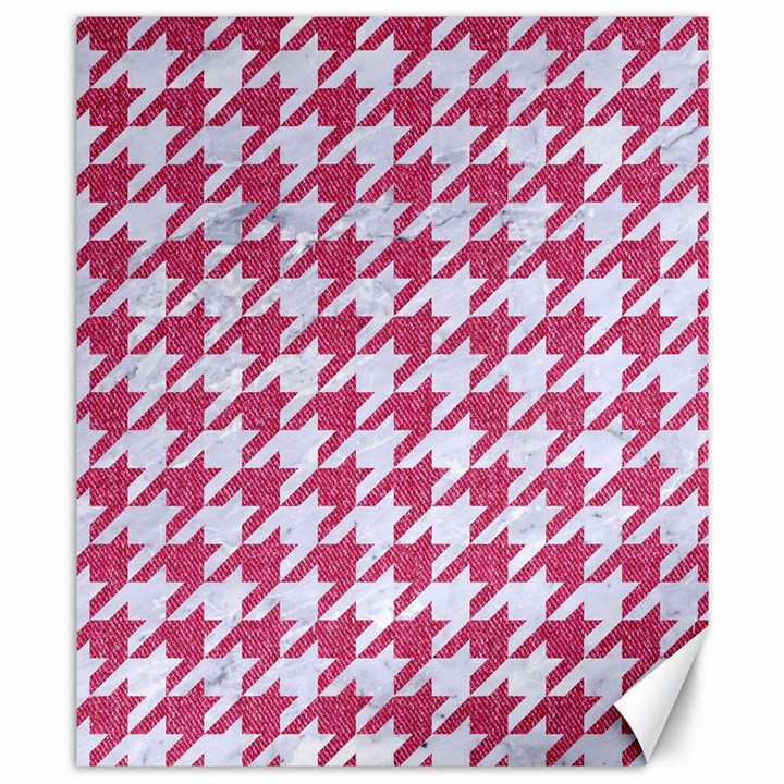 HOUNDSTOOTH1 WHITE MARBLE & PINK DENIM Canvas 8  x 10