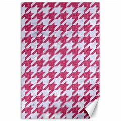 Houndstooth1 White Marble & Pink Denim Canvas 24  X 36