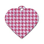 HOUNDSTOOTH1 WHITE MARBLE & PINK DENIM Dog Tag Heart (Two Sides) Front