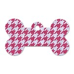 HOUNDSTOOTH1 WHITE MARBLE & PINK DENIM Dog Tag Bone (Two Sides) Front