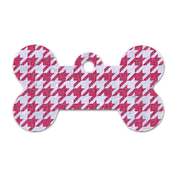 HOUNDSTOOTH1 WHITE MARBLE & PINK DENIM Dog Tag Bone (Two Sides)