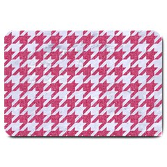 Houndstooth1 White Marble & Pink Denim Large Doormat  by trendistuff