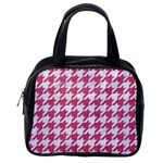 HOUNDSTOOTH1 WHITE MARBLE & PINK DENIM Classic Handbags (One Side) Front
