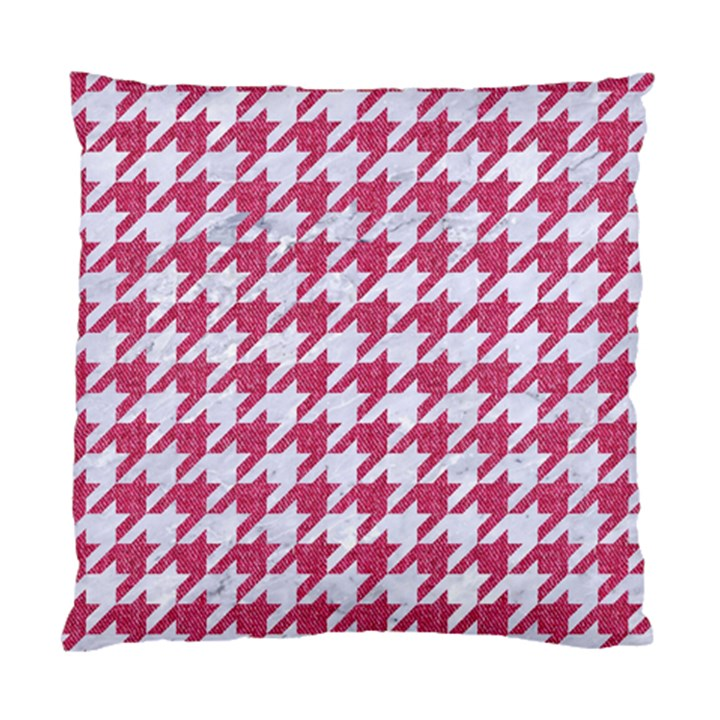 HOUNDSTOOTH1 WHITE MARBLE & PINK DENIM Standard Cushion Case (Two Sides)