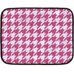Houndstooth1 White Marble & Pink Denim Double Sided Fleece Blanket (mini)  by trendistuff