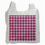 HOUNDSTOOTH1 WHITE MARBLE & PINK DENIM Recycle Bag (One Side) Front