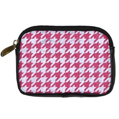 Houndstooth1 White Marble & Pink Denim Digital Camera Cases