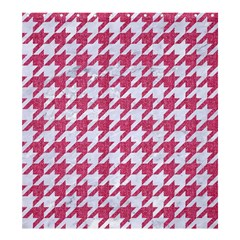 Houndstooth1 White Marble & Pink Denim Shower Curtain 66  X 72  (large)  by trendistuff