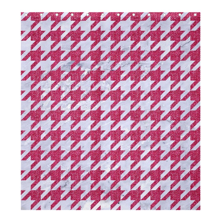 HOUNDSTOOTH1 WHITE MARBLE & PINK DENIM Shower Curtain 66  x 72  (Large)