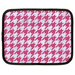 Houndstooth1 White Marble & Pink Denim Netbook Case (xxl)  by trendistuff