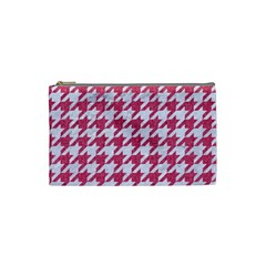 Houndstooth1 White Marble & Pink Denim Cosmetic Bag (small)  by trendistuff