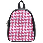 HOUNDSTOOTH1 WHITE MARBLE & PINK DENIM School Bag (Small) Front