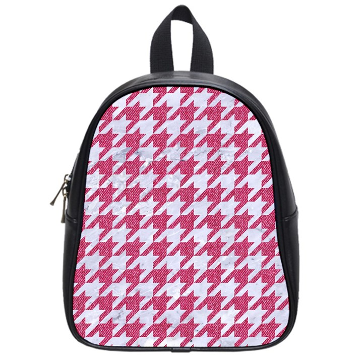 HOUNDSTOOTH1 WHITE MARBLE & PINK DENIM School Bag (Small)