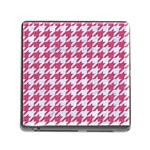 HOUNDSTOOTH1 WHITE MARBLE & PINK DENIM Memory Card Reader (Square) Front