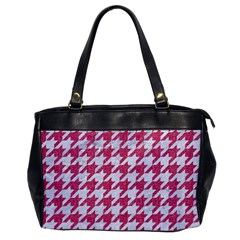 Houndstooth1 White Marble & Pink Denim Office Handbags