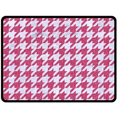 Houndstooth1 White Marble & Pink Denim Fleece Blanket (large)  by trendistuff