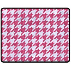 Houndstooth1 White Marble & Pink Denim Fleece Blanket (medium)  by trendistuff