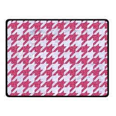 Houndstooth1 White Marble & Pink Denim Fleece Blanket (small) by trendistuff