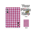 HOUNDSTOOTH1 WHITE MARBLE & PINK DENIM Playing Cards 54 (Mini)  Front - SpadeA