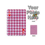HOUNDSTOOTH1 WHITE MARBLE & PINK DENIM Playing Cards 54 (Mini)  Front - Heart9