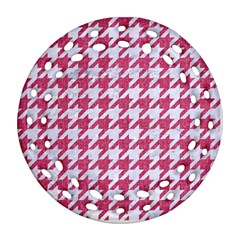 Houndstooth1 White Marble & Pink Denim Round Filigree Ornament (two Sides)