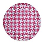 HOUNDSTOOTH1 WHITE MARBLE & PINK DENIM Round Filigree Ornament (Two Sides) Back