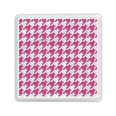 Houndstooth1 White Marble & Pink Denim Memory Card Reader (square)
