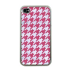 Houndstooth1 White Marble & Pink Denim Apple Iphone 4 Case (clear) by trendistuff