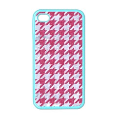 Houndstooth1 White Marble & Pink Denim Apple Iphone 4 Case (color)