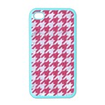 HOUNDSTOOTH1 WHITE MARBLE & PINK DENIM Apple iPhone 4 Case (Color) Front
