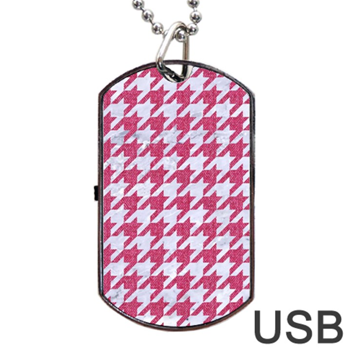 HOUNDSTOOTH1 WHITE MARBLE & PINK DENIM Dog Tag USB Flash (One Side)