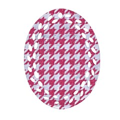 Houndstooth1 White Marble & Pink Denim Ornament (oval Filigree) by trendistuff