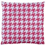 HOUNDSTOOTH1 WHITE MARBLE & PINK DENIM Large Cushion Case (One Side) Front