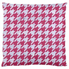 Houndstooth1 White Marble & Pink Denim Large Cushion Case (two Sides)
