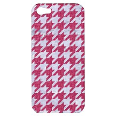 Houndstooth1 White Marble & Pink Denim Apple Iphone 5 Hardshell Case by trendistuff