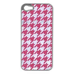 Houndstooth1 White Marble & Pink Denim Apple Iphone 5 Case (silver) by trendistuff