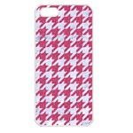 HOUNDSTOOTH1 WHITE MARBLE & PINK DENIM Apple iPhone 5 Seamless Case (White) Front