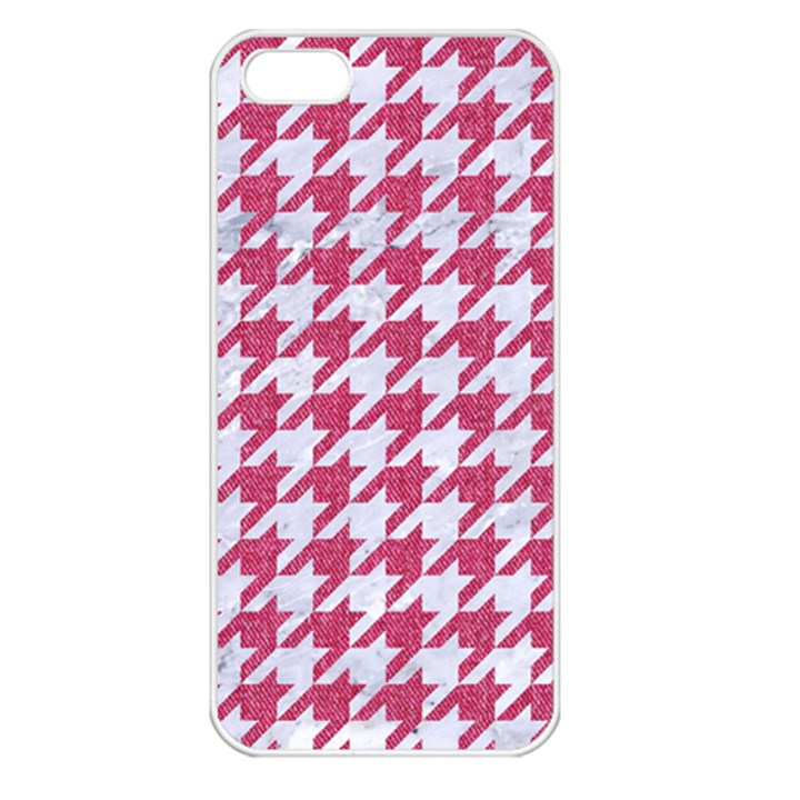 HOUNDSTOOTH1 WHITE MARBLE & PINK DENIM Apple iPhone 5 Seamless Case (White)