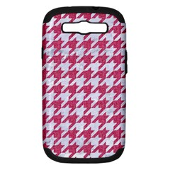Houndstooth1 White Marble & Pink Denim Samsung Galaxy S Iii Hardshell Case (pc+silicone) by trendistuff