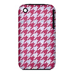 Houndstooth1 White Marble & Pink Denim Iphone 3s/3gs