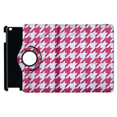 Houndstooth1 White Marble & Pink Denim Apple Ipad 2 Flip 360 Case