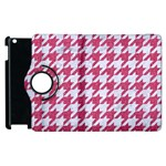 HOUNDSTOOTH1 WHITE MARBLE & PINK DENIM Apple iPad 2 Flip 360 Case Front
