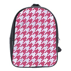 Houndstooth1 White Marble & Pink Denim School Bag (xl)