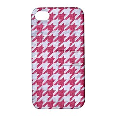 Houndstooth1 White Marble & Pink Denim Apple Iphone 4/4s Hardshell Case With Stand