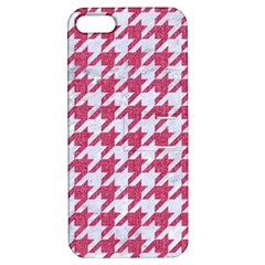Houndstooth1 White Marble & Pink Denim Apple Iphone 5 Hardshell Case With Stand by trendistuff