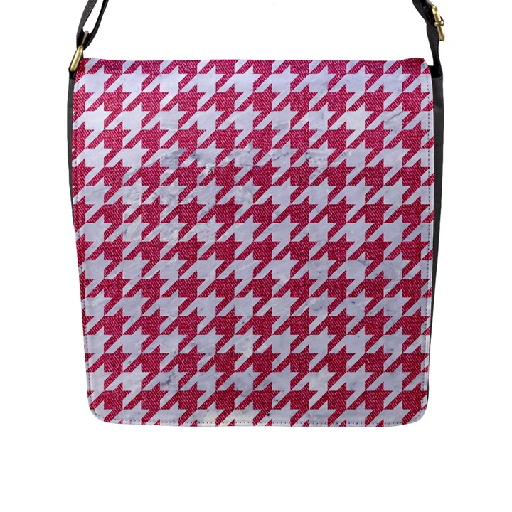 HOUNDSTOOTH1 WHITE MARBLE & PINK DENIM Flap Messenger Bag (L)